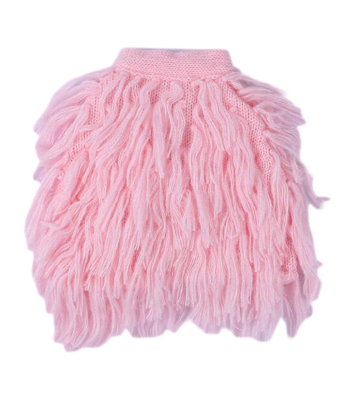 OUCHI Kids Baby Girls Fashion Autumn Winter Mohair Fringe Cardigan Vest XC037