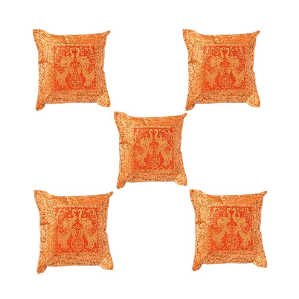 Indian Brocade Elephantステッチハンドメイド枕カバークッションDesigner Tossカバーs-789 B075K9FFG1