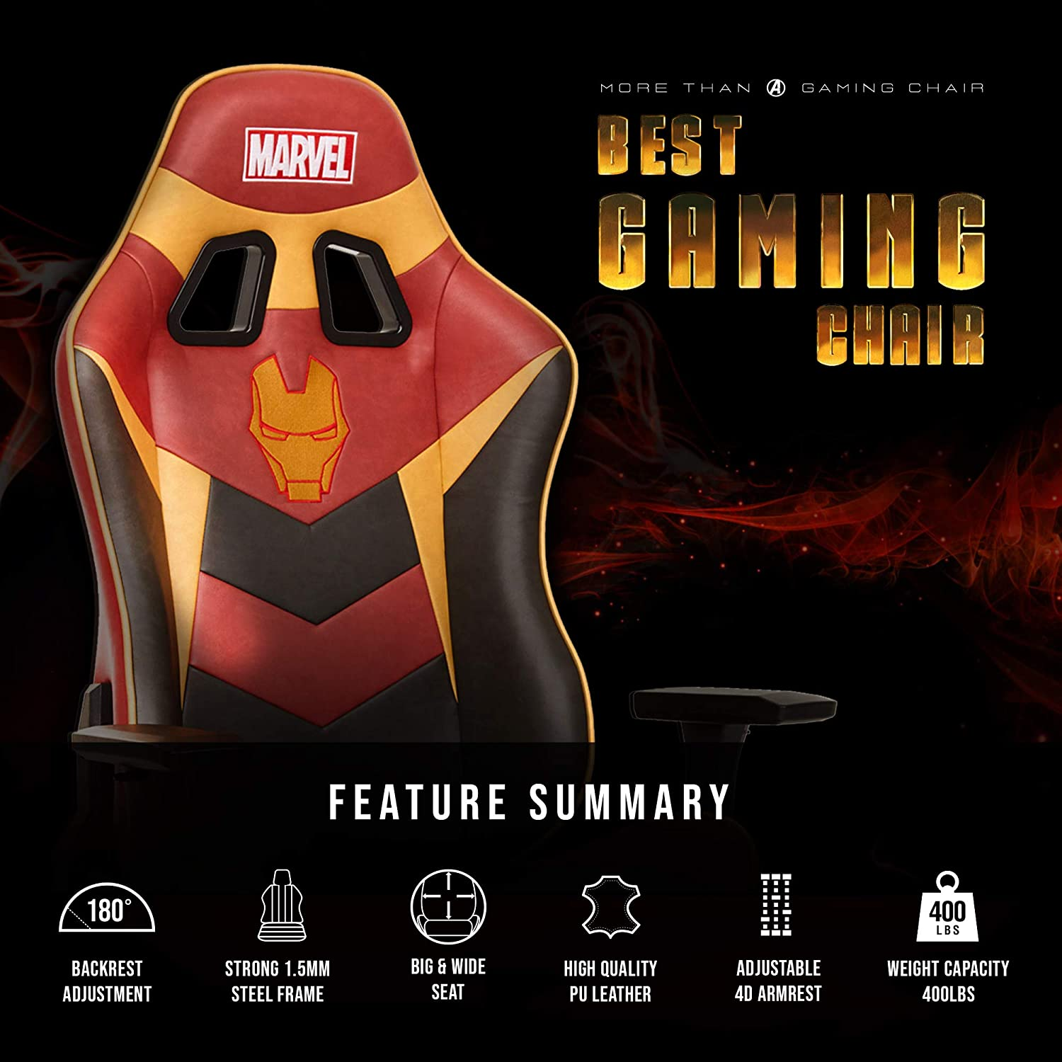 Marvel Avengers Iron Man Big Wide Heavy Duty 400 lbs Gaming Chair Office Chair Computer Racing Desk Chair Red Gold – Endgame Infinity War Series, Marvel Legends