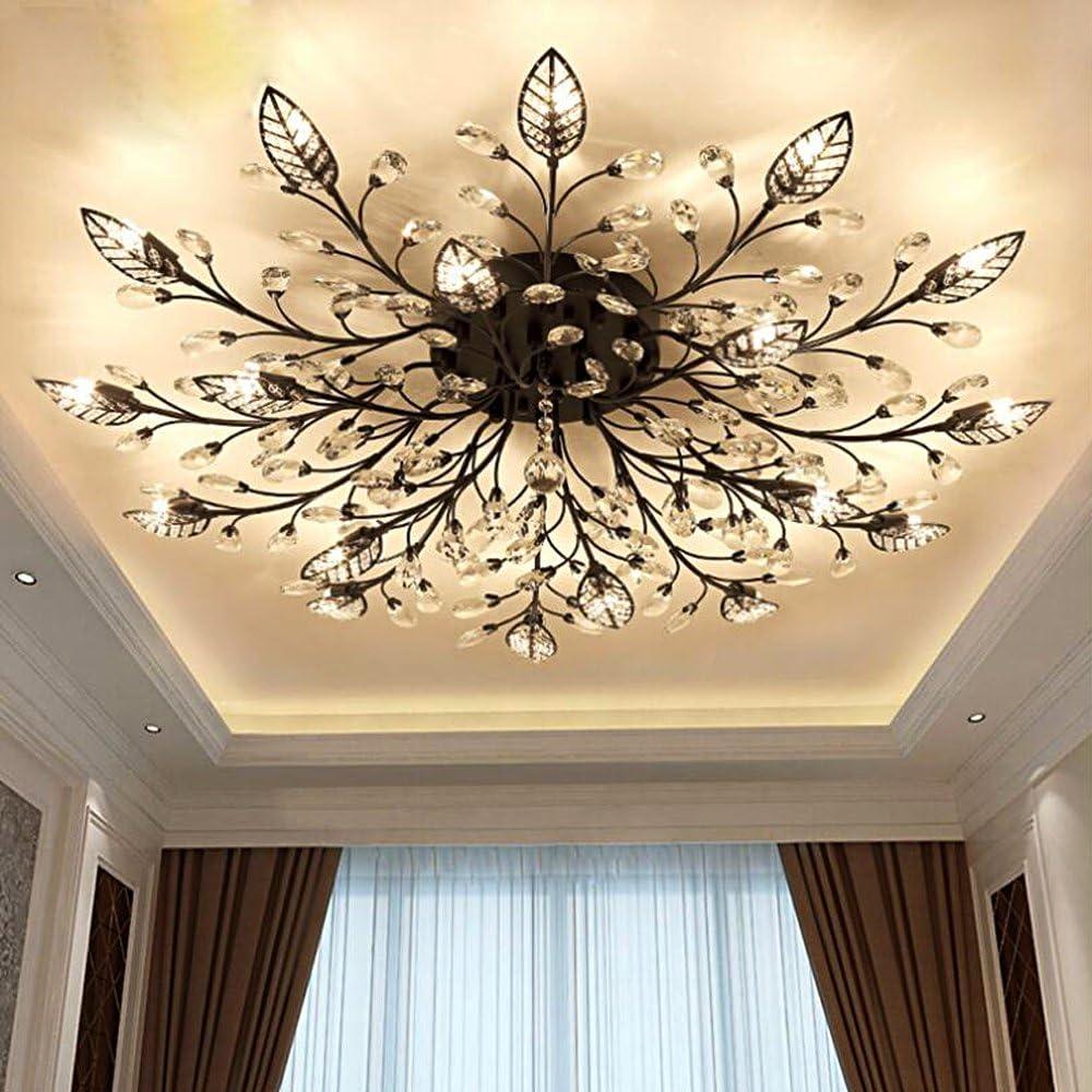 Diy FamilyModern Crystal LED Ceiling Lamp,Leaf Flush Mount Ceiling Light Fixture Decorative Crystal Chandelier For Dining Room Bedroom Livingroom