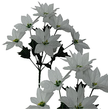 14 white poinsettia pack of 24 picks holidays christmas decorations - White Christmas Flower Decorations