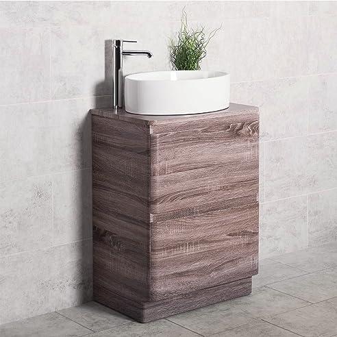 Amazon.de: Badezimmer 600 Waschtisch Unterschrank Eiche stehend ...