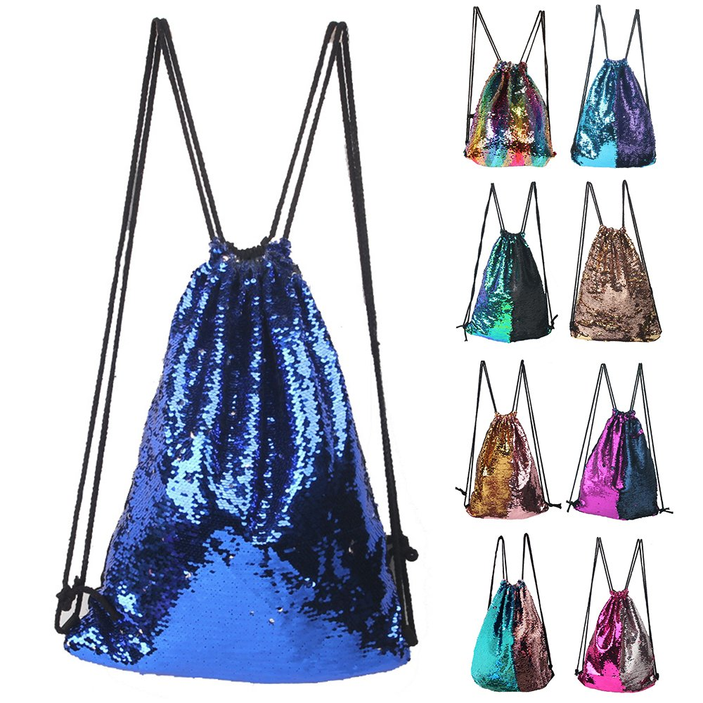 Mermaid Sequin Drawstring Backpack Glittering Outdoor Shoulder Bag, Winmany Magic Reversible Glitter Drawstring Backpack , Fashion Bling Shining Bag, Sports Backpack Bag
