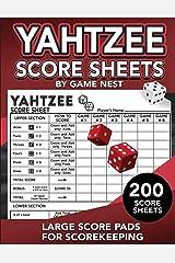 "Yahtzee Score Sheets: 200 Large Score Pads for Scorekeeping | 8.5"" x 11"" Yahtzee Score Cards (Yahtzee Dice Board Game Book) Paperback"