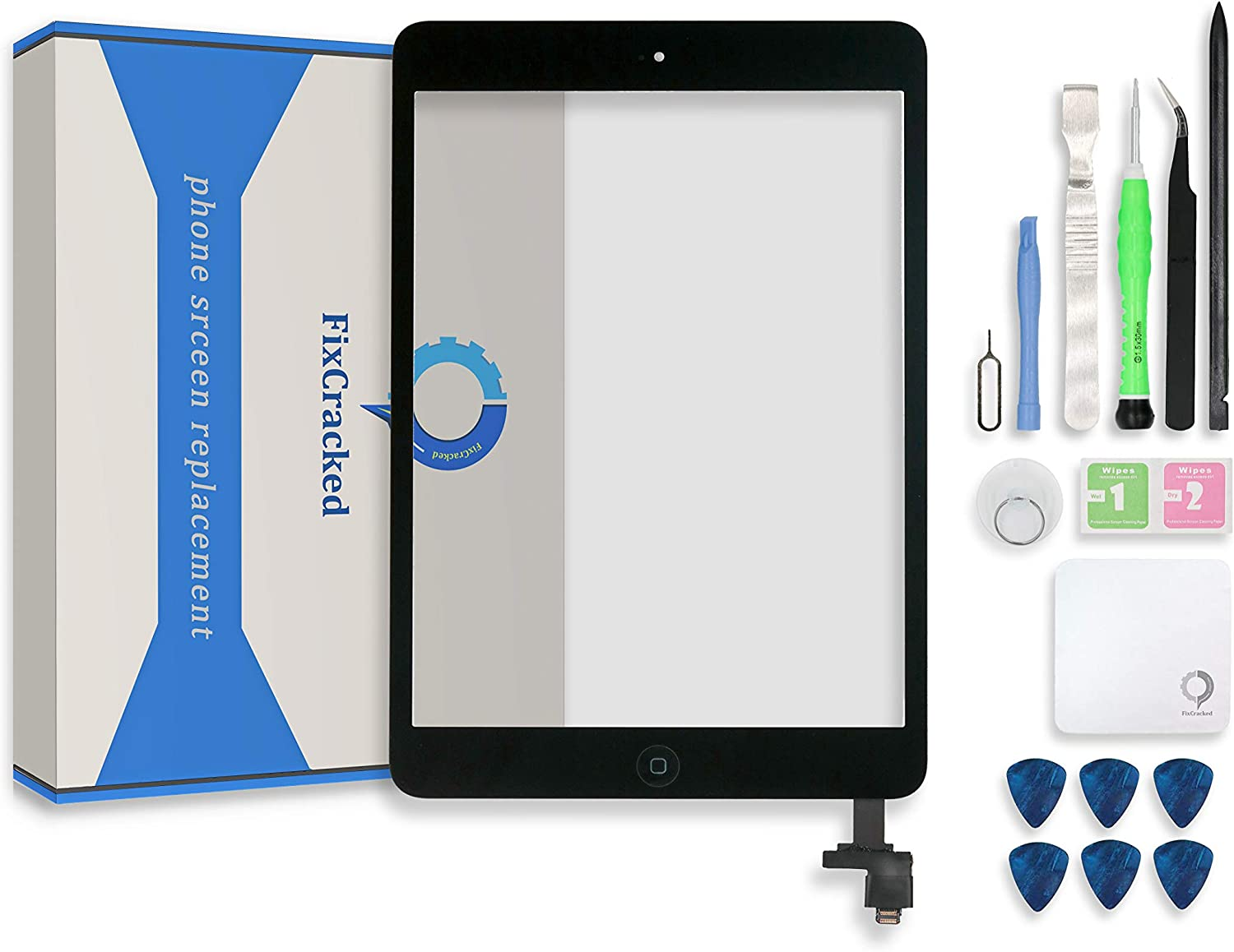 Fixcracked Touch Screen Replacement Parts Digitizer Glass Assembly for Ipad mini & mini 2 + Professional Tool Kit (black)