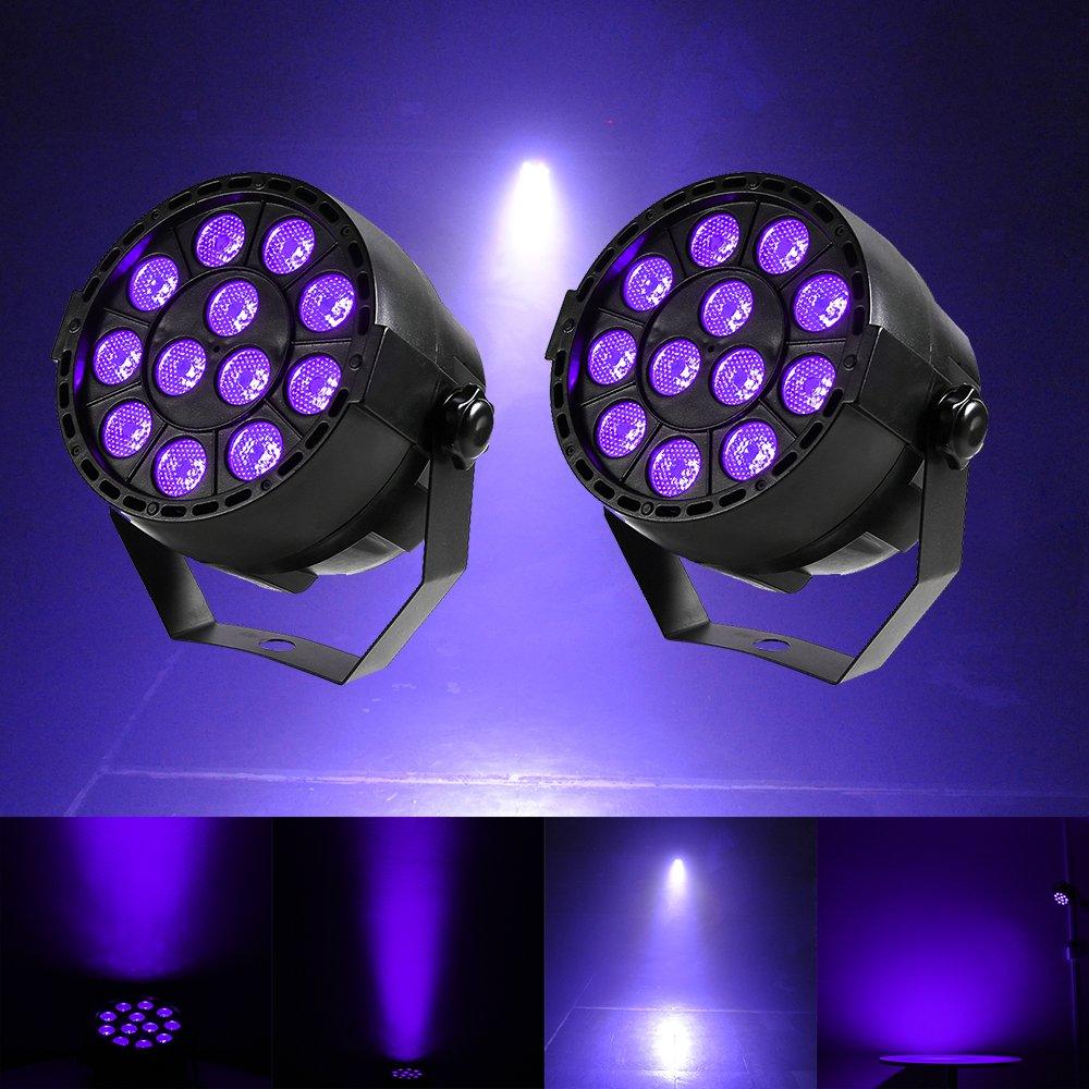 Black Lights UV Light,Gledto 2-Pack 12 LED Effects Stage Par Light Purple Lights for Blacklight Party Posters Paint Stage KTV Neon/Glow Parties Pub Club Disco Show Concert Celebration