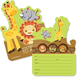Funfari - Fun Safari Jungle - Shaped Fill-In Invitations - Baby Shower or Birthday Party Invitation Cards with Envelopes - Set of 12