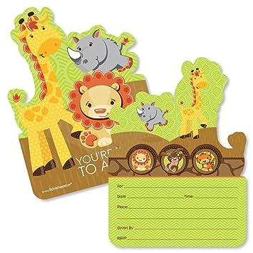 Funfari Fun Safari Jungle Shaped Fill In Invitations Baby Shower Or Birthday Party Invitation