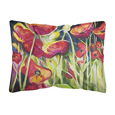 Caroline's Treasures JMK1121PW1216 Red Poppies Canvas Fabric Decorative Pillow, 12H x16W, Multicolor : Garden & Outdoor