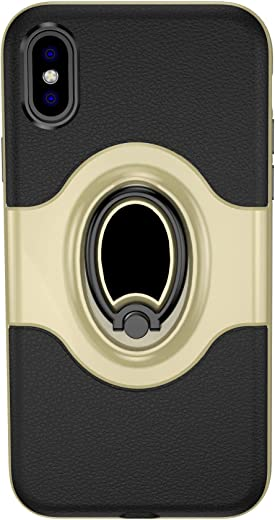 غطاء حماية لهاتف آيفون XS ماكس من انكيس - قاعدة تثبيت مغناطيسية وحلقة غير مرئية، لون ذهبي