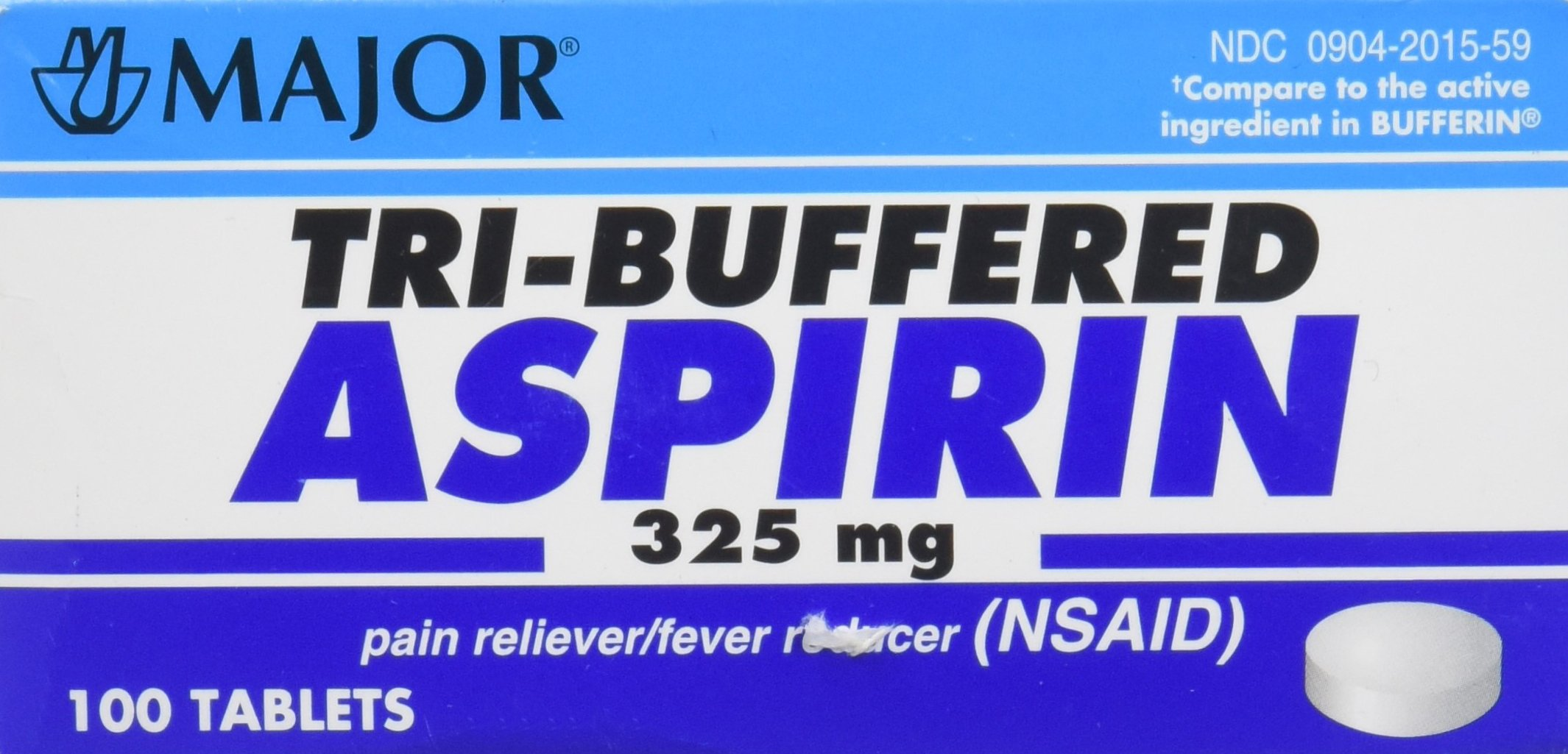 Major Pharmaceuticals Tri-Buffered Aspirin Tablets Generic for Bufferin 325 mg, Assorted, 100 Count