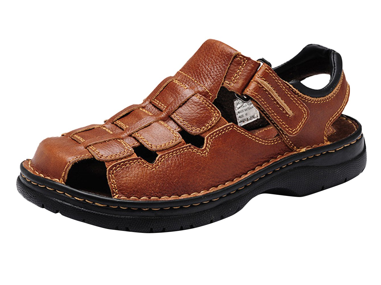 Insun Sandalias De Cuero Para Hombre Zapatos Al Aire Libre 44 EU|Marrón
