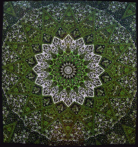 Popular Psychedelic Mandala Hippie Tapestry Indian Wall Hanging Bedspread 84x90 Inches (215x230cms)