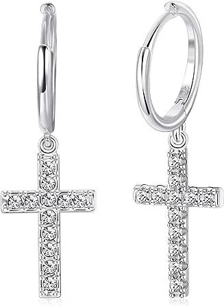 Milacolato 925 sterling silver ring droppe örhängen pave CZ guld minimalistisk dingla kubisk zirkon kors dinglande örhängen för kvinnor män