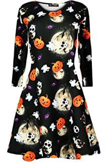 Oops Outlet Womens Halloween Scary Bat Pumpkin Spider Smock Skater Swing Dress