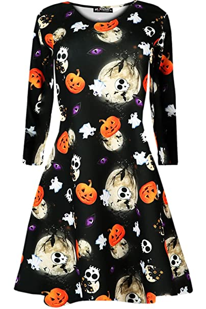 216c537ed98e Amazon.com  Oops Outlet Women s Halloween Scary Bat Pumpkin Spider Smock  Skater Swing Dress  Clothing