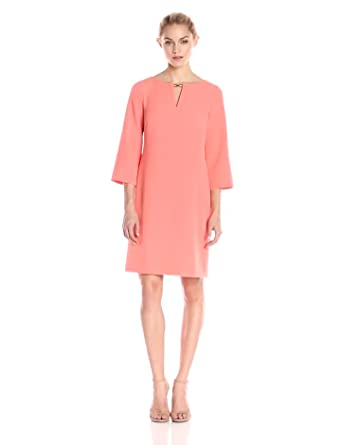 b90125eb84 Adrianna Papell Women s Petite Three Quarter Sleeve Crepe Shift Dress