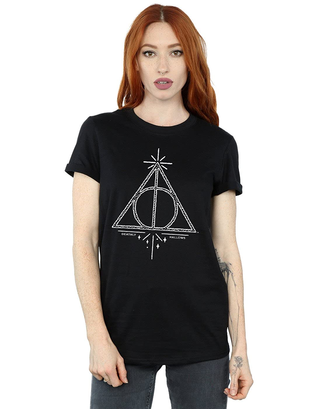 HARRY POTTER Mujer Deathly Hallows Symbol Camiseta del Novio Fit