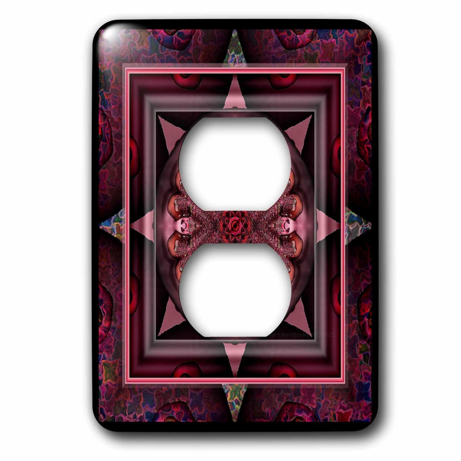 3dRose lsp_24842_6 Mandala 10 Chakra Purple Pink Black Flowerpower Hippie India Orient Oriental Meditate Peace Harmony 2-Plug Outlet Cover
