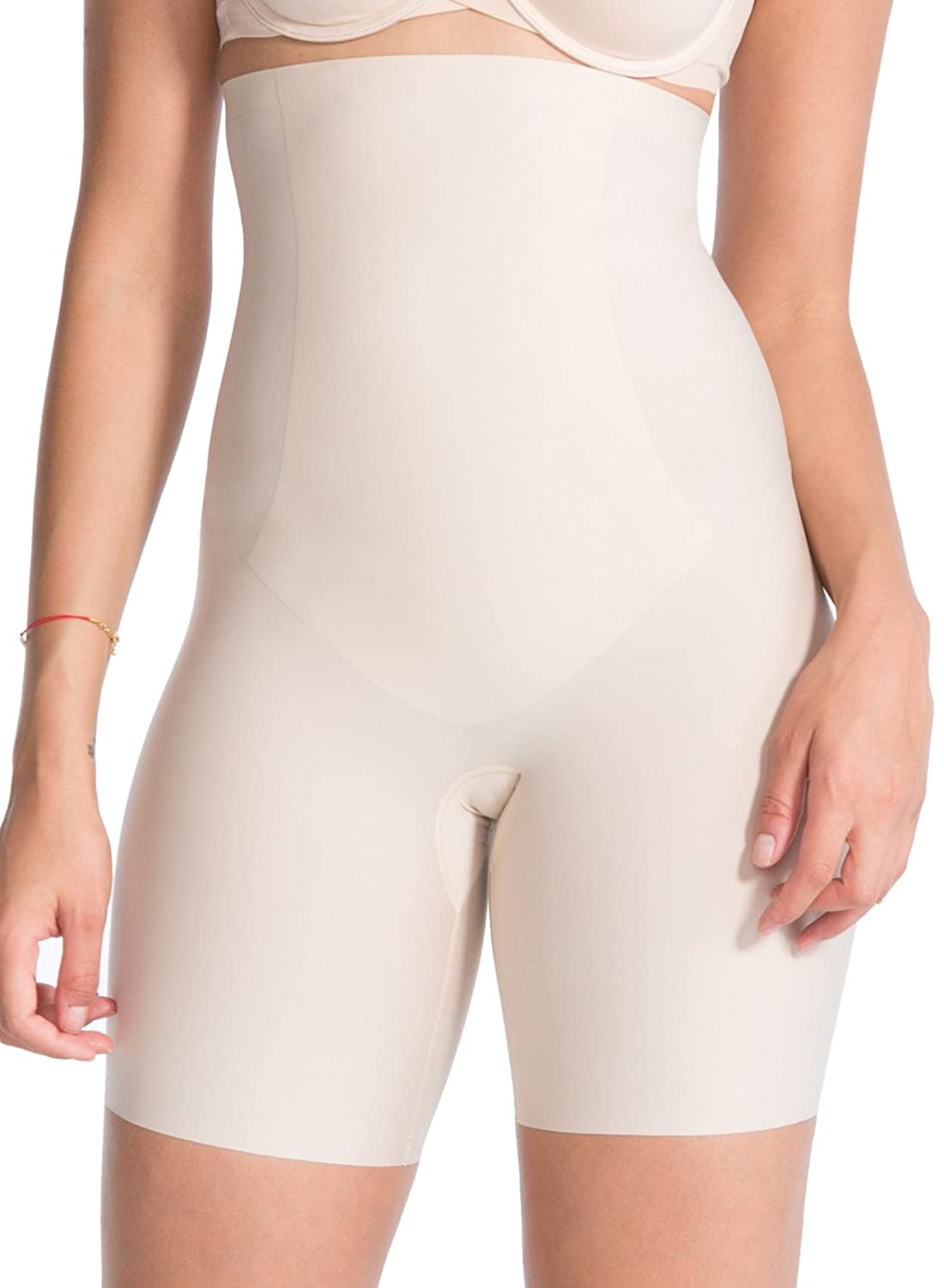 Spanx Deluxe Slimming Shapewear Thinstincts High-Waisted Mid-Thigh Shorts, Very Black Soft Nude 10006r
