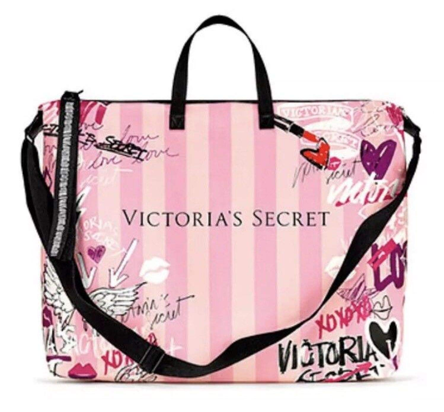 Victoria's Secret Pink Duffle Bag Weekender Tote Graffiti Logo 17x14 Large Size