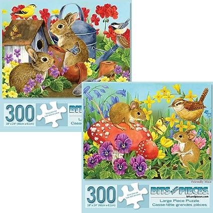 Amazon.com: Juego de 2 puzzles de 300 piezas para adultos ...