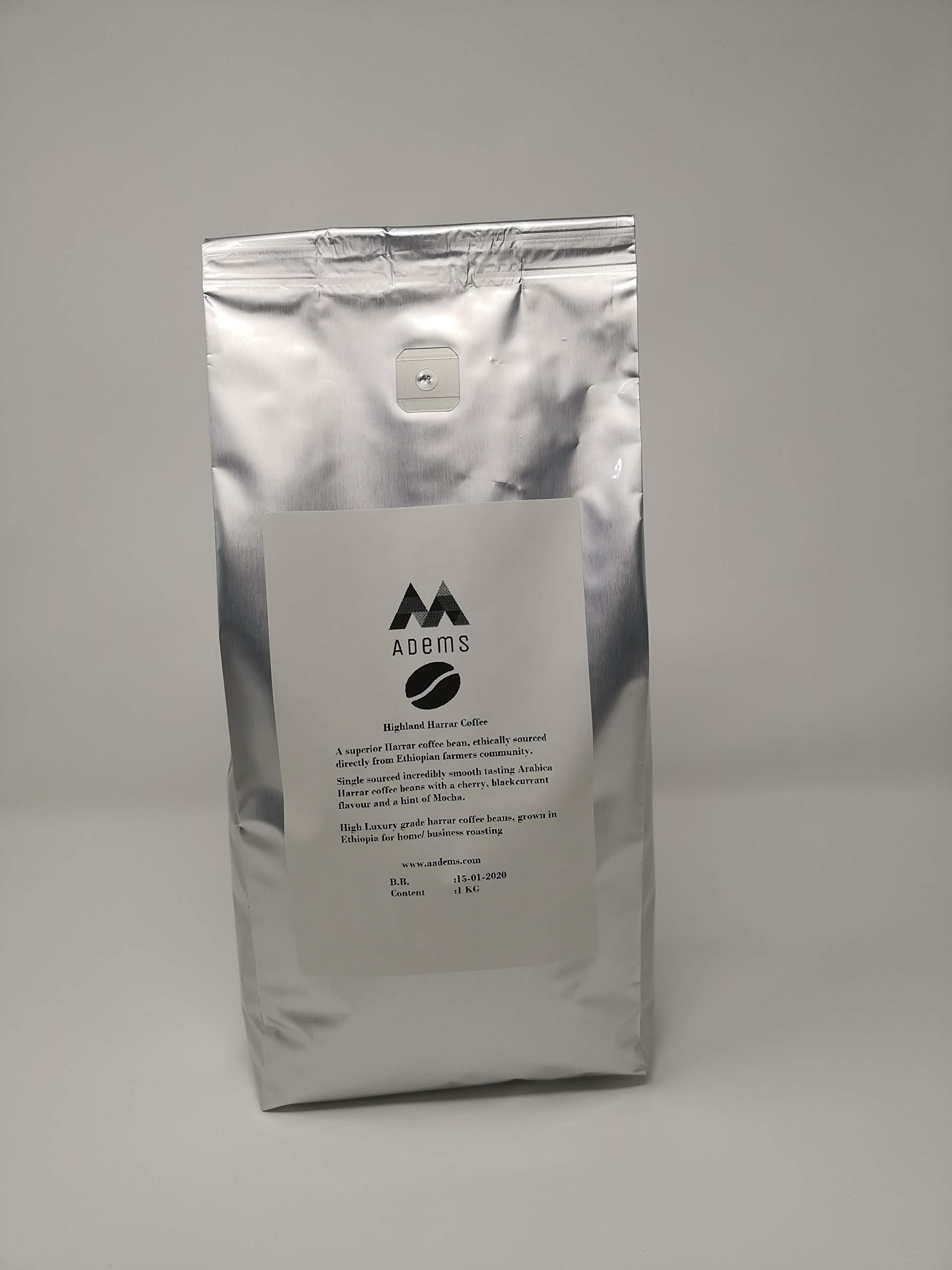 Adems Ethiopian highland harrar green coffee beans 1kg unroasted for home/business roasting (2.2Lbs)