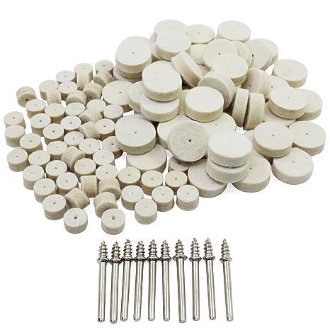 HSeaMall 100 UNIDS fieltro de lana almohadilla de pulido herramienta de pulido de la rueda de