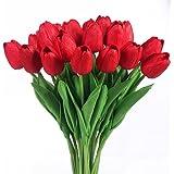JUSTOYOU tallo único de tulipán hecho de látex con sensación real al tacto, de 33cm de largo, flores artificiales decorativas para ramos de boda, hogar, hotel, jardín, eventos navideños, regalo, tela, rojo oscuro, Paquete de 20