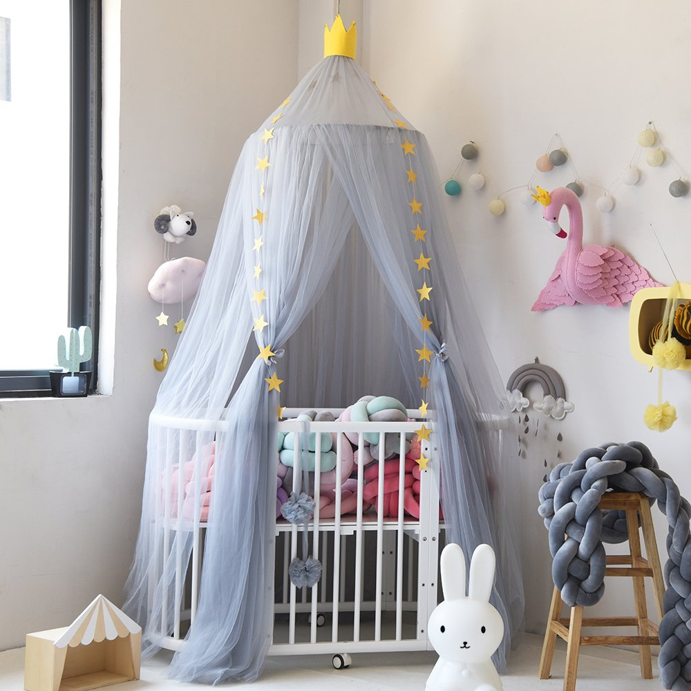 Aboqueen Mosquito Net Bed Canopy Dome Prince & Princess Play Tent & Gaming House for Boys, Girls, Babies & Toddlers with Kids Room Decoration & Bug Protection (Grey)