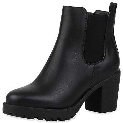 Scarpe Boots Vita Profilsohle Damen Stiefeletten Chelsea Blockabsatz UzSMVp