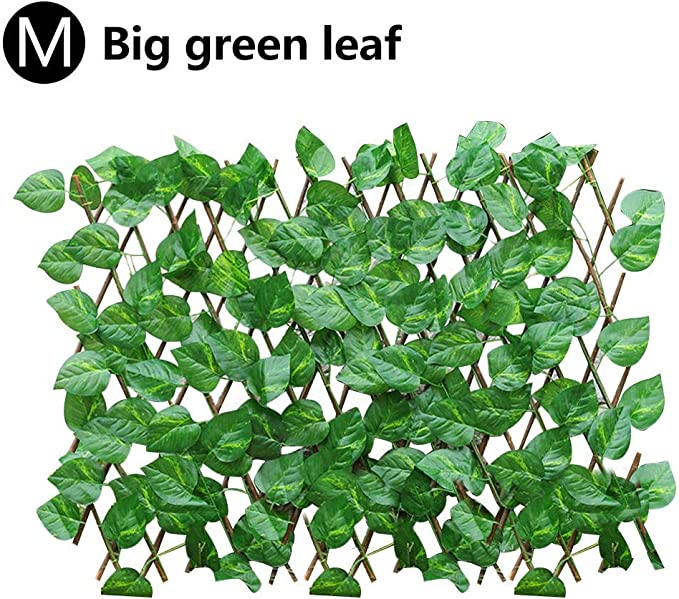 KKmoon Simulation Fence with Fake Flowers Green Leaves Garden Trellises Fence Telescopic Fence for Outdoor Garden Fence Wall Guardrail Decorative Leaves Blocking Plants Begonia Leaves Type