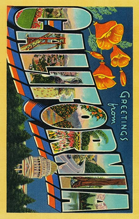 Amazon greetings from california 12x18 collectible art print greetings from california 12x18 collectible art print wall decor travel poster m4hsunfo