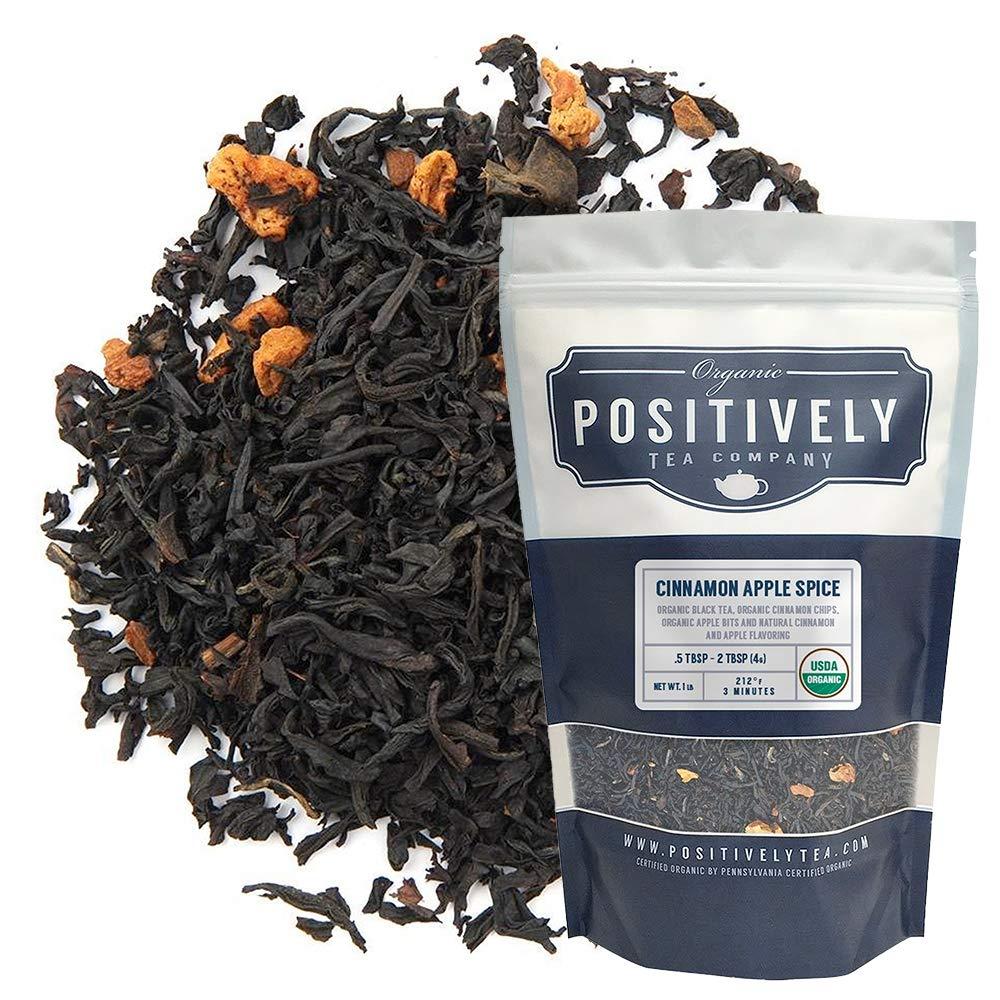 Positively Tea Company, Organic Cinnamon Apple Spice Black Tea, Loose Leaf, 16 Ounce