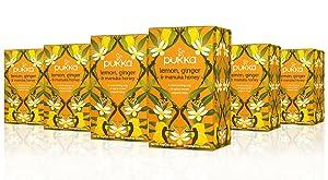 Pukka Lemon Ginger & Manuka Honey, Organic Herbal Tea Bags (6 Pack, 120 Tea Bags)
