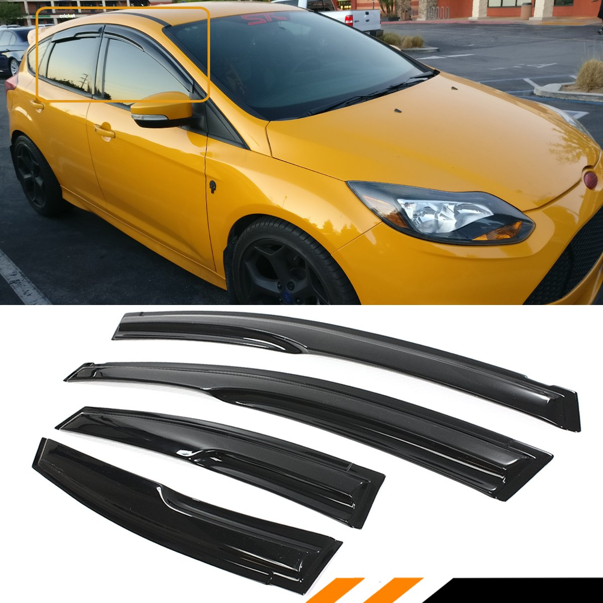Cuztom Tuning 3d Style Smoke Tinted Window Visor Shade Rain Guard 2012 Ford Focus Windows For 2009 2018