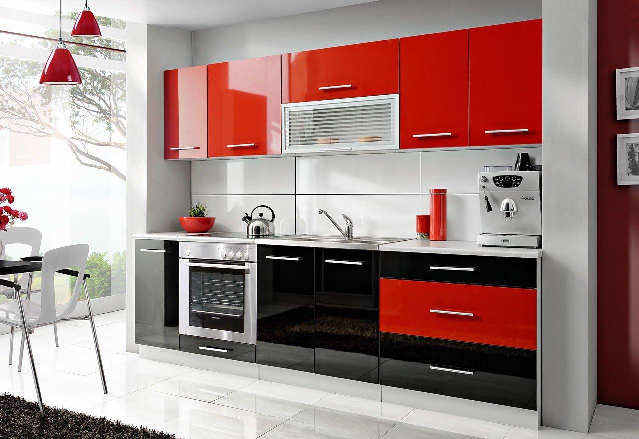 Komplette Küche Petra 260 Cm Verschiedene Farbkombinationen Hochglanz NEU  (rot / Schwarz) Jetzt Kaufen