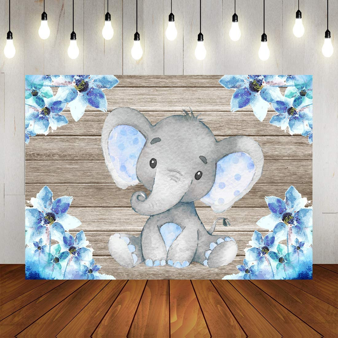 Boy Elephant Baby Shower Backdrop Watercolor Blue Floral Elephant Birthday Photography Background A Little Prince Newborn Baby Party Decorations Photo Studio Props 7x5ft