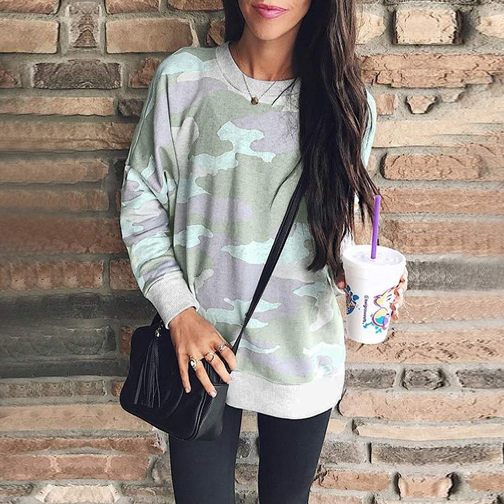 Tiksawon Womens Sweatshirts Camo Print Long Sleeve Round Neck Casual Loose Fit Pullover T Shirts Tops