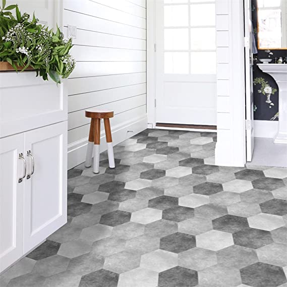 10pcs//set Retro Floor Tiles Wall Stickers Self-adhesive Decals for Kitchen Decor