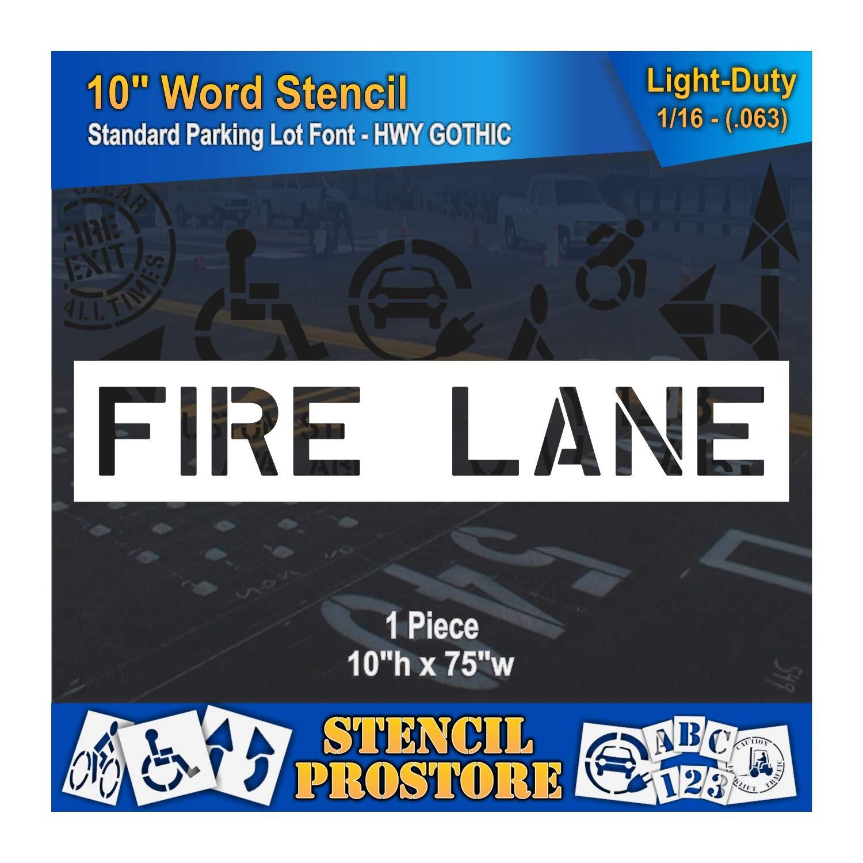 Pavement Marking Stencils - 10 inch FIRE Lane Stencil - 10'' x 75'' x 1/16'' (63 mil) - Light-Duty