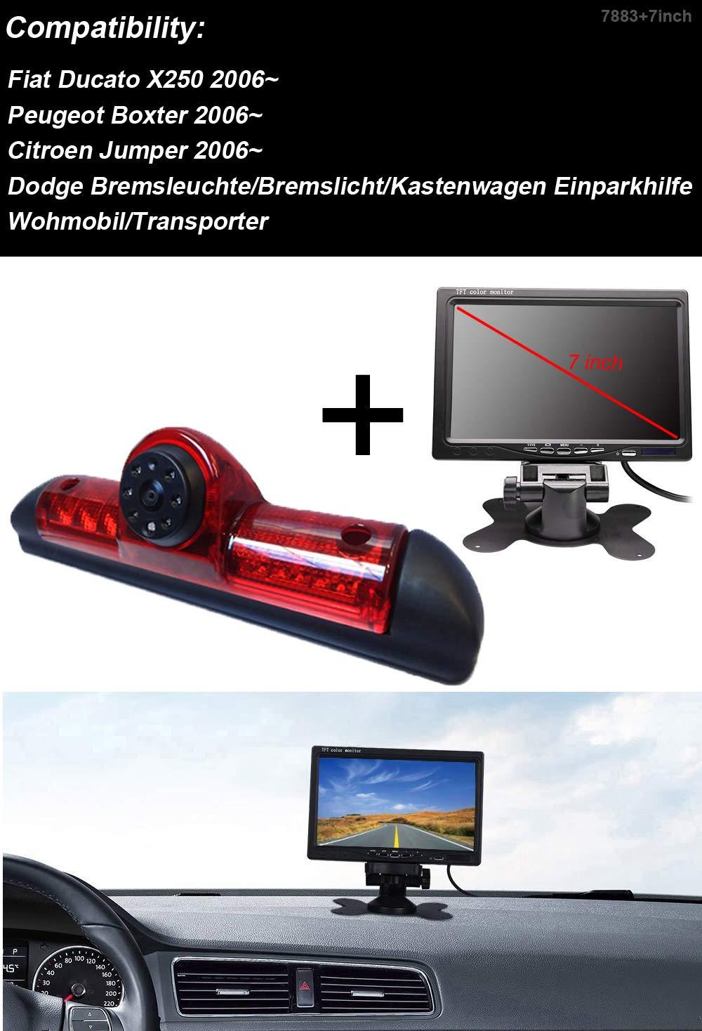 Telecamera per retromarcia Transportster+7 pollici TFT LCD monitor auto monitor in 3 luci freno luce freno adatto per Ducato X250//Peugeot Boxter//Citroen Jumper