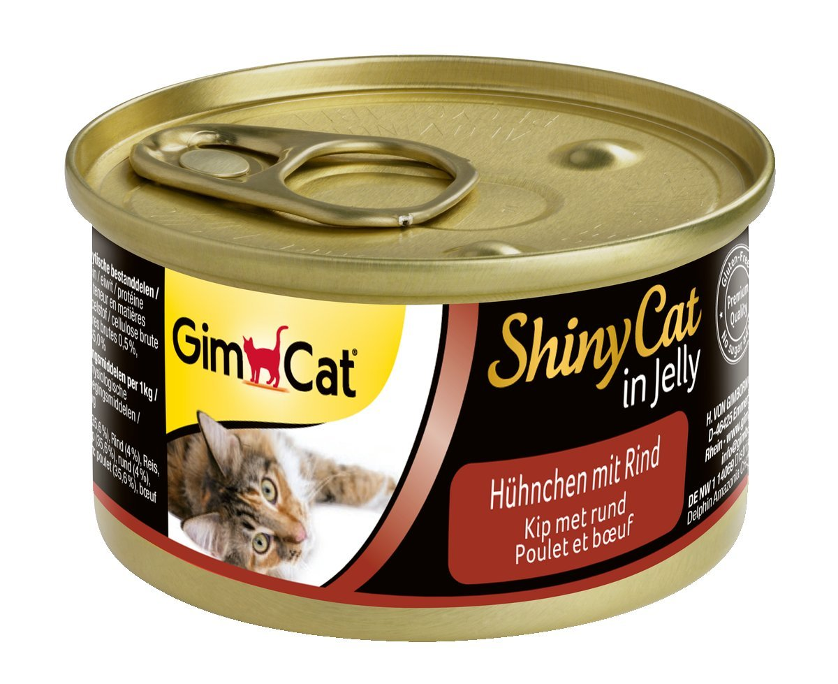 GimCat ShinyCat in Jelly - Comida para gatos adultos, Carne de pollo en gelatina, sin azúcar añadido, Pollo con cangrejo, 24 latas (24 x 70 g): Amazon.es: ...