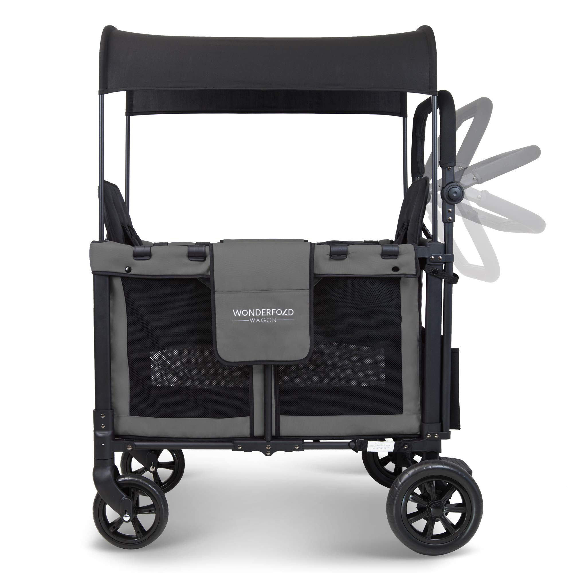 WonderFold Multi-Function Push 2 Passenger Double Folding Stroller, Adjustable Canopy & Removable Chair Seat Up To 2 Toddlers (Charcoal Gray) by WonderFold (Image #3)