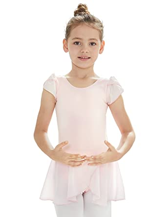 814f093db Amazon.com  MdnMd Girls  Petal Flutter Sleeve Skirted Leotard  Clothing