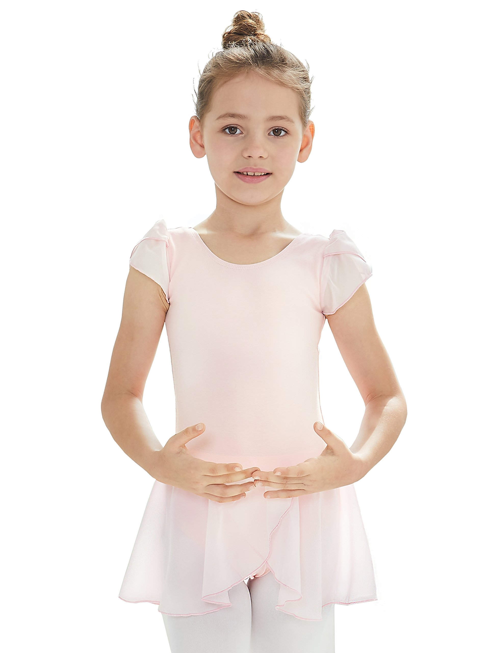 MdnMd Leotard for Girls with Flutter Sleeve (Ballet Pink, Age 6-8,Height 49-52'')