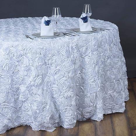 Amazon Com Efavormart 132 Wholesale Round Table Cover White Grandiose Rosette 3d Satin Tablecloth For Wedding Party Event Decoration Home Kitchen