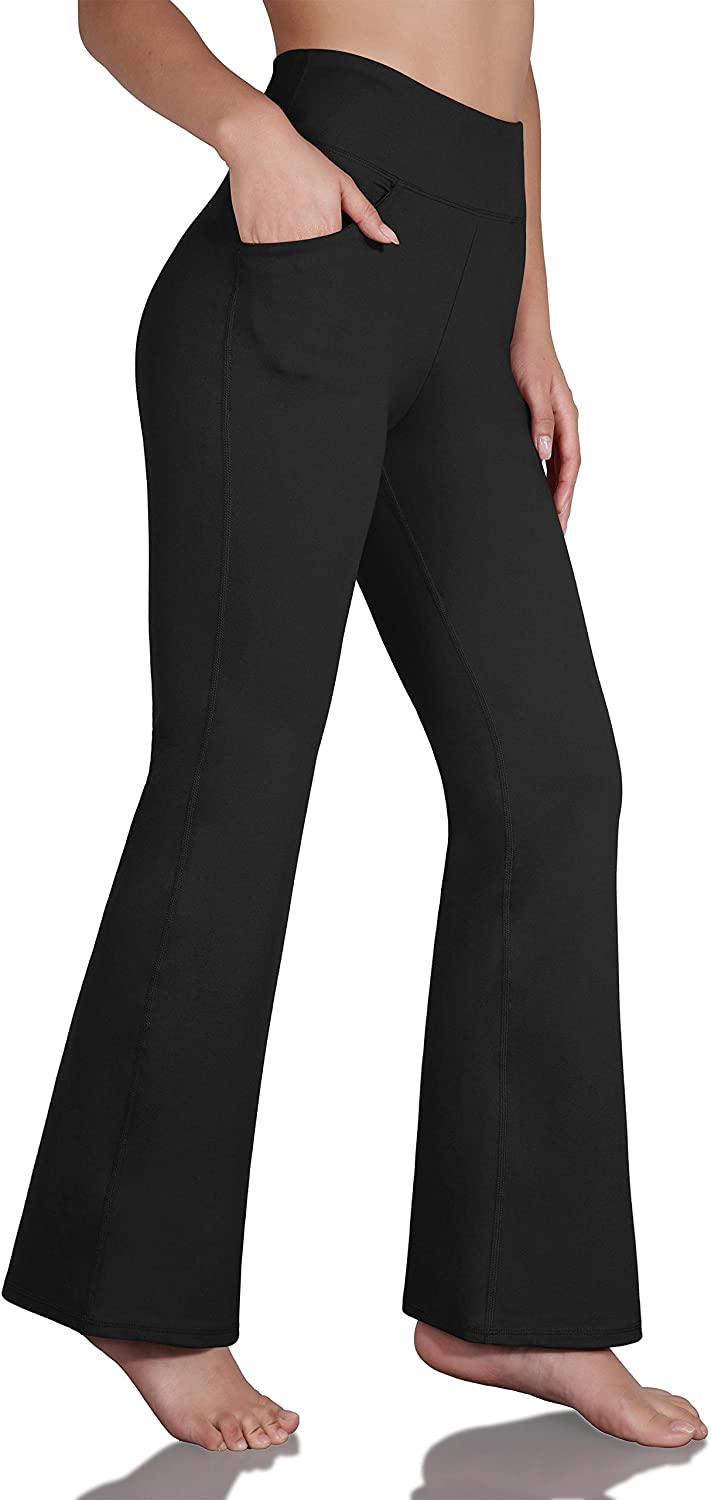 ODODOS Women's Boot-Cut Yoga Pants Tummy Control Workout Non See-Through Bootleg Yoga Pants