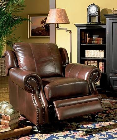 recliner sofa chair nail head trim burgundy tritone leather - Nailhead Sofa