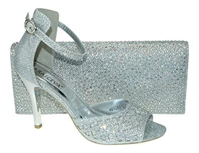 Chic Feet Womens Silver Party Diamante Evening Wedding Bridal Prom Mid Heel  Sandals & Matching Bag